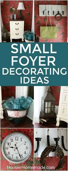 SMALL FOYER DECORATING IDEAS -- Welcome your guests with these easy decorating ideas! Add a little Farmhouse Style with the DIY COAT RACK, Aqua Mason Jars, Galvanized Clock and more!