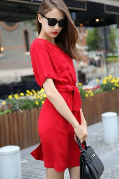 Cuffed With Pockets Bow Dress 24.00
