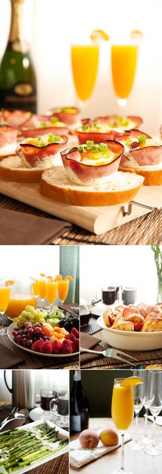 brunch food recipes - I love the muffin cups- I wonder how well it would work with turkey or roast beef? or maybe turkey ham- this is an awesome idea for a gluten free brunch fare too- LH Brunch Party Decorations, Brunch Decor, Brunch Menu, Brunch Recipes, Breakfast Recipes, Brunch Ideas, Mimosa Brunch, Brunch Foods, Champagne Brunch