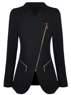 SheIn offers Black Long Sleeve Oblique Zipper Pockets Coat & more to fit your fashionable needs. Love Fashion, Winter Fashion, Womens Fashion, Mode Outfits, Fashion Outfits, Mode Hijab, Mode Inspiration, Blazer Jacket, What To Wear