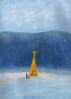 GIF Snowing outdoors christmas tree lights