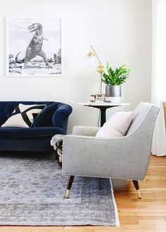 Our favorite color scheme: black + white + navy (all items shoppable!) | via Yellow Brick Home