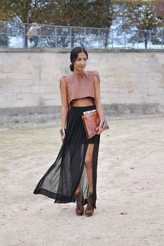Blush leather + sheer black