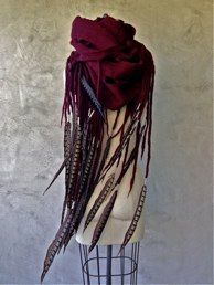 Theo ScarfBlood Red With Pheasant Feathers Feather Scarf, Feather Headdress, Cozy Winter Outfits, Winter Chic, Boho Outfits, Fashion Outfits, Peter And The Starcatcher, Feather Fashion, Post Apocalyptic Fashion