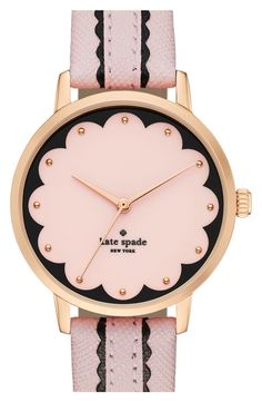 How adorable is this scalloped dial watch from Kate Spade? The combination of pink, black, and rose gold makes for a sweet and glamorous accessory.