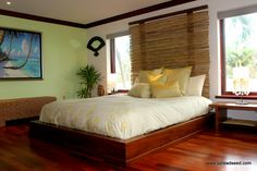 "Hawaiian Modern is the style, and tropical love is the inspiration behind this low teak bed with a bamboo headboard, between each of the bamboo stave is a purple glass bead,  thus the ""HANG-10"" bed came to be"