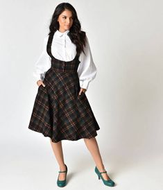 Collectif 1950s Black Plaid Natalia Swing Suspender Skirt