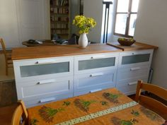 premade shelves and cabinets | ... dresser storage units, shelving and a premade countertop. Love this