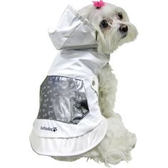 Image source: Amazon.com   #6 – Reversible Dog Raincoat  Help your pooch stay dry with a FouFou Dog Reversible Raincoat. One side has a bone print pattern, while the other is a solid color with a decorative functional pocket. It also has a hood for added protection from the rain, and a Velcro closure.