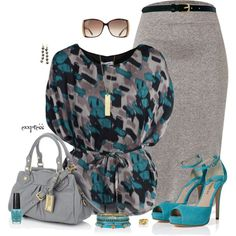 work outfits | Work Outfits | Teal & Grey | Fashionista Trends