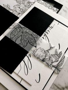 Black & White Modern Calligraphy Wedding Stationery | Monochrome Wedding Invitations See more here: https://www.etsy.com/au/listing/525960497/wedding-invitation-suite-calligraphy?ref=shop_home_active_6 #weddinginvitation