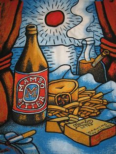 Mambo Loud Shirts Blue Bitter Beer shirt is bright and bold. The image features a bottle of Mambo Bitter, cigarettes and a bong. Designed in Australia. Funny Vintage Ads, Vintage Images, Beer Shirts, Ex Machina, Australian Art, Vintage Gifts, Selling On Ebay, Hawaiian, Illustration Art