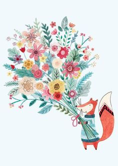 I just love her greeting Cards - Blank Cards - Felicity French Illustration Art And Illustration, Fuchs Illustration, Illustration Mignonne, Watercolor Illustration, Illustrations, Art Floral, Art Mignon, Karten Diy, Happy Design