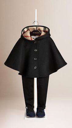 Black Check Lined Wool Cape - Image 1