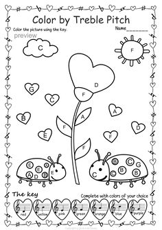Valentine's day Music Activity: Color by Treble pitch Elementary Music Lessons, Music Lessons For Kids, Music For Kids, Piano Songs For Beginners, Easy Sheet Music, Piano Recital, Music Worksheets, Piano Teaching, Music Activities