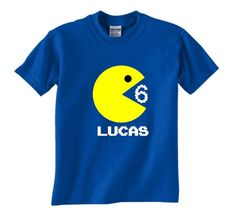 A personal favorite from my Etsy shop https://www.etsy.com/listing/241773651/pac-man-birthday-shirt-personalized