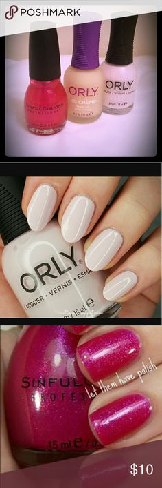 ORLY, Sinful Colors Bundle NEW Orly BB Creme for Nails, Orly polish in Cake Pop, and Sinful Colors Polish in Forget Not. The SC polish was used 1 time, other 2 are brand new and unused. Great colors for summer!! ORLY & Sinful Colors Makeup