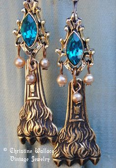 ROYAL PAWS--Antique Lion Paw Vintage Pearl Turquoise Rhinestone EARRINGS