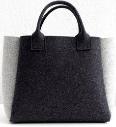 Charbon de bois sentait Shopper, gris sac, sac à main, sac à provisions noir gris, laine feutre Shopper a estimé