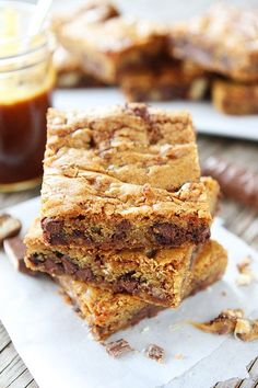 Twix Caramel Cookie Bars Recipe on twopeasandtheirpod.com Love these sweet cookie bars!