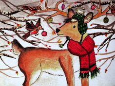 Christmas Reindeer/Decorating by EmmysAnimals on Etsy