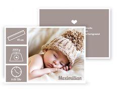 Geburtskarte Trendy in Taupe