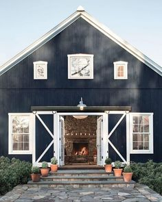 """57 Likes, 5 Comments - Bria Hammel Interiors (@briahammelinteriors) on Instagram: """"You know our obsession with navy, especially navy exteriors! Can we talk about this navy barn…"""" Floor Plan 4 Bedroom, Barn House Design, Barndominium Floor Plans, Mid Century Modern Chandelier, Barn Renovation, Barn Apartment, Barn House Plans, Rustic Barn, Cottage Style"""