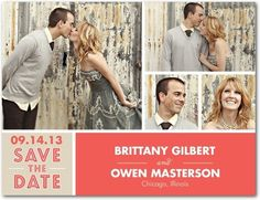 Like the format of this save the date, Eric and I have lots of fun engagement pics we could use for save the dates