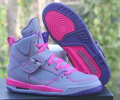 Nike Air Jordan Flight 45 High GS Pink Grey Purple 524864-039 Kids Girls Sz Shoe #AirJordan #BasketballShoes