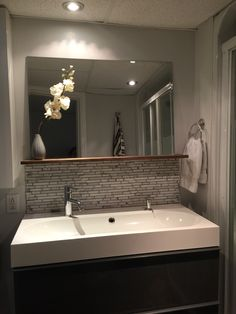 Small downstairs bathroom @ikeacanada vanity Bathroom Lighting, Home, Lighted Bathroom Mirror, Bathroom Mirror, Corner Bathtub, Bathroom, Downstairs Bathroom, Bathtub, Mirror