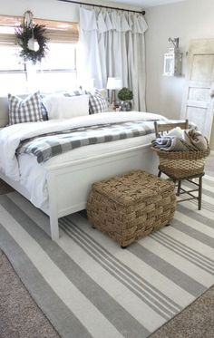 This style for bedroom. Rug, wall light.