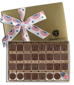 US Army. Be All You Can Be, with star icons, decorative foil-wrapped patriotic chocolate balls and your choice of hand-tied ribbon.