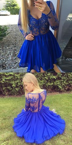 Royal blue lace homecoming dresses, long sleeves party dresses, cheap short prom dresses
