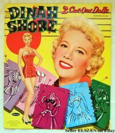 Wonderful, UNCUT 1956 Vintage Dinah Shore Paper Dolls!  I love Celebrity Paper Dolls!