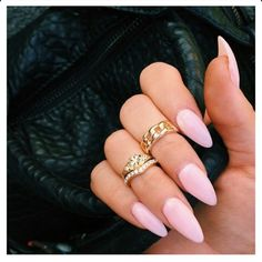 Light Pink Almond Acrylic Nails w/ Midi Rings