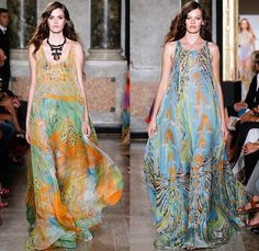 Emilio Pucci 2015 Spring Summer Womens Runway Looks - Milano Moda Donna Collezione Milan Fashion Week Italy Camera Nazionale della Moda Italiana - 1960s Sixties 1970s Seventies Maxi Dress Goddess Gown Halter Top Tie-Dye Drapery Bejeweled Suede Lace Embroidery Fringes Crochet Flare Hippie Boho Bohemian Flowers Florals Print Studs Geometric Sheer Chiffon Tiered Boots Noodle Spaghetti Strap Jumpsuit