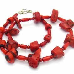 Red Coral Graduated, Silver Necklace
