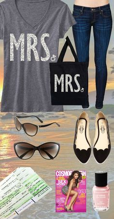 Stylish #Honeymoon Outfit featuring a GLITTER MRS. SHIRT & TOTE. Price is only $36.95 on Etsy for Shirt & Tote! Pack your bags, and click here to buy! www.etsy.com/listing/165521131/mrs-bride-shirt-glitter-print-special?ref=shop_home_active_2