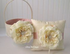 Flower Girl Basket & Ring Pillow Set ♥ LaceyClaireDesigns - $94.00