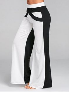 692942fcc03b4 nboba Wide Leg Pants with Color Block Causal Loose Straight Flat Trousers  Long Female Trousers Women Pants Wide Legged Pants Gray S     Visit the  photo link ...