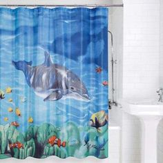 Dolphin And Fish Shower Curtain Multi - The ocean comes to life in this vividly detailed Dolphin and Fish Shower Curtain. Vibrant colors and shading give this shower curtain a real sense of life. polyester material is machine washable for convenience. Coastal Bathroom Decor, Coastal Decor, Treasure Beach, Beach Gifts, Shower Curtain Rods, Shower Curtains, Curtain Patterns, Beach House Decor, Home Decor