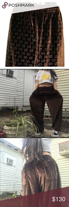 Vintage Gucci Velour Sweatpants Thrifted these awesome Gucci sweatpants a couple of weeks ago! They're a 2X, but they could work depending on how you style them if you're a smaller size! In great condition! Drawstring elastic waist, fitted bottom leg, Gucci label on the garnet as well. Gucci Pants Track Pants & Joggers