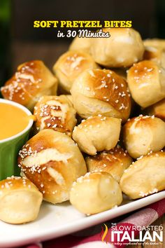 A soft and tender pretzel with the most subtle sweetness is the recipe you have been dreaming of.  Even better, they are ready in just 30 minutes.  Quick and easy you can make these Best Ever Soft Pretzel Bites with or without a mixer! #pretzel #simple #recipe CLICK 4 RECIPE --> http://www.theslowroasteditalian.com/2014/03/soft-pretzel-bites-recipe.html