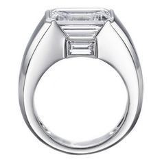 Engagement Ring - Horizontal Emerald Cut Diamond Engagement Ring with Baguette 0.20 tcw. In 14K White Gold - ES761WG
