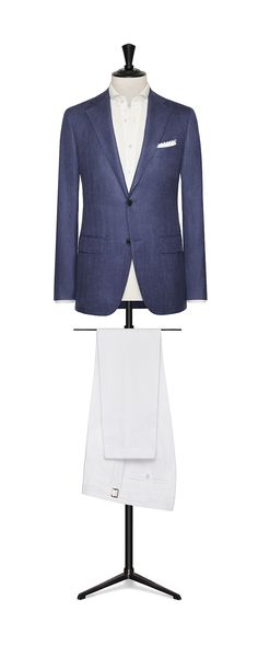Tailor Made London Spring/Summer 2018 intense Blue wool-silk-linen herringbone men jacket code: 8392