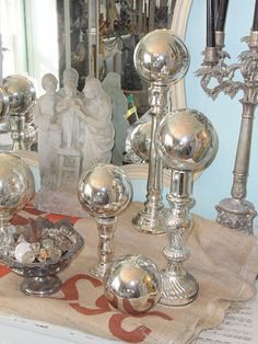 love the silver balls on silver candlesticks