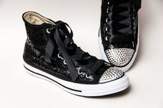 b0b5e2e39ff9 Tiny Sequin - Black Converse® Canvas Hi Top Sneakers Shoes with 5mm Crystal  Rhinestoned Toes and Ribbon Laces