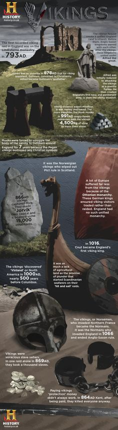 Vikings Infographic. I'm a little wary of posting an infographic from the History Channel, notorious for rarely doing its history homework, not to mention all its ancient alien programming posing as real science, and they should have done spellcheck first, but...
