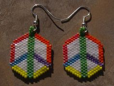 Peace Earrings Hand Made Seed Beaded on Etsy, $20.00