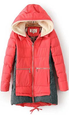 Stitching hooded down coat pink wow so pretty